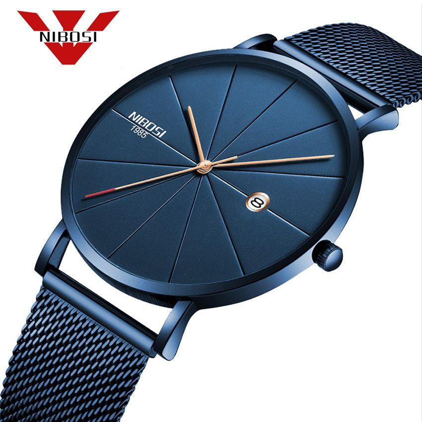NIBOSI Simple Men Watches 2018 New Type Waterproof Wrist Watch Fashion Milanese Band Relogio Masculino Luxury Clock Blue