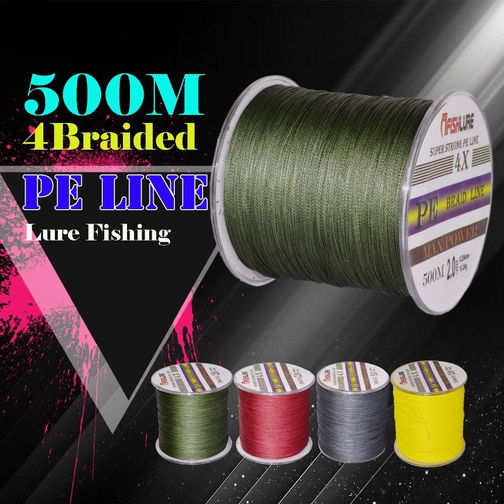 500 m multifilamento 4 strands 100% PE trenzado Pesca línea PE 8lb/10lb/20lb/30lb/ 35lb/40lb/50lb/60lb Carp Bass Pesca