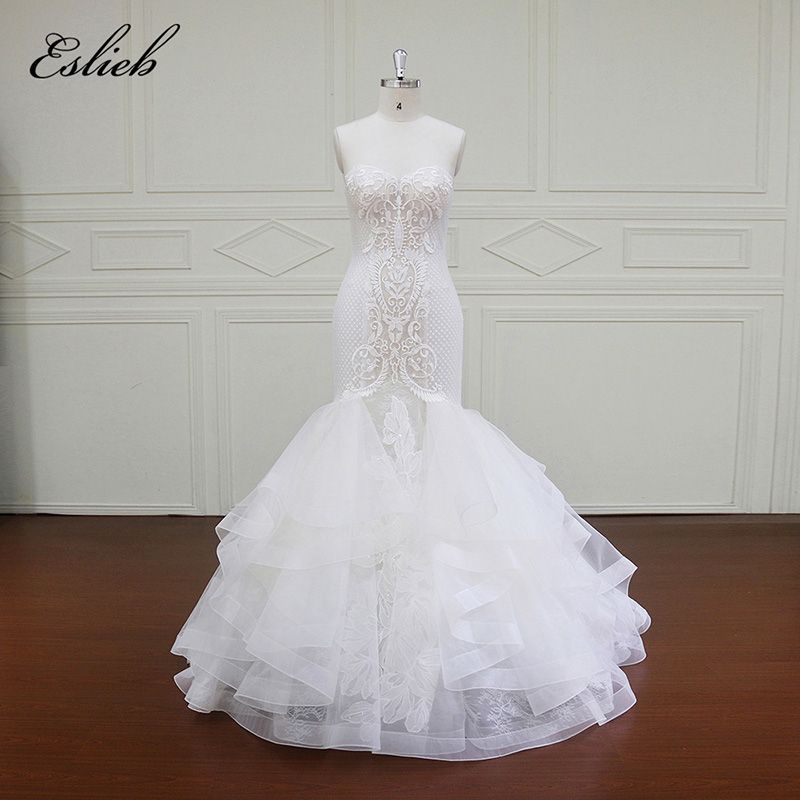 Eslieb Luxury Mermaid Wedding Dresses 2018 With float and Lace Customize Lace Up Back Bridal Gown Train Vestidos De Noiva