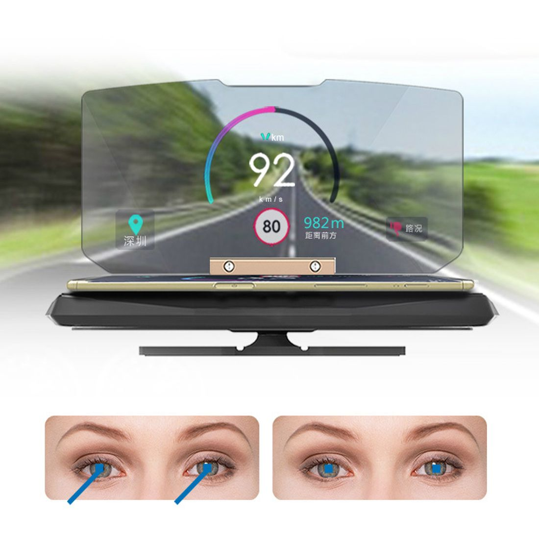 NOYOKERE 6.5 Inch Universal Car HUD Holder Head Up Display Projector Bracket For GPS Navigation For iPhone Car Styling