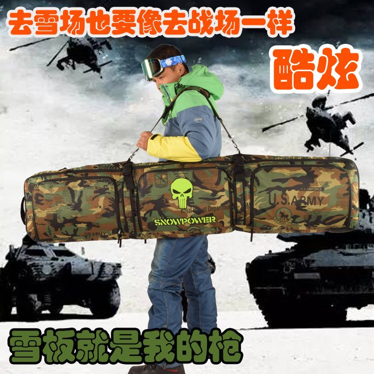 146-166cm snowboard skis and clothing All stuff Bag / double  snowboards bag padded cotton padded camouflage A5112