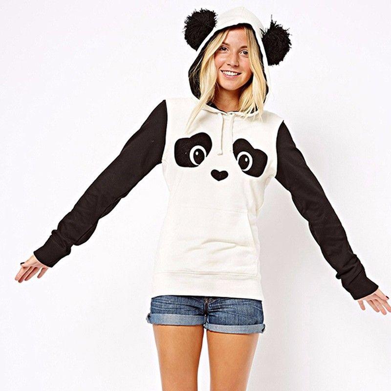KLV 2017 New Fashion High Quality Women's Winter Warm Panda Fleece Pullover Jumper HoodedSweater Coat Tops