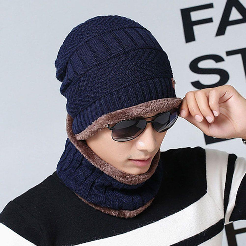 Fashion Fleece Warm Knit Scarf Cap Neck Warmer Unisex Winter Windproof Hats For  Warm Knit Scarf Cap Neck Warmer