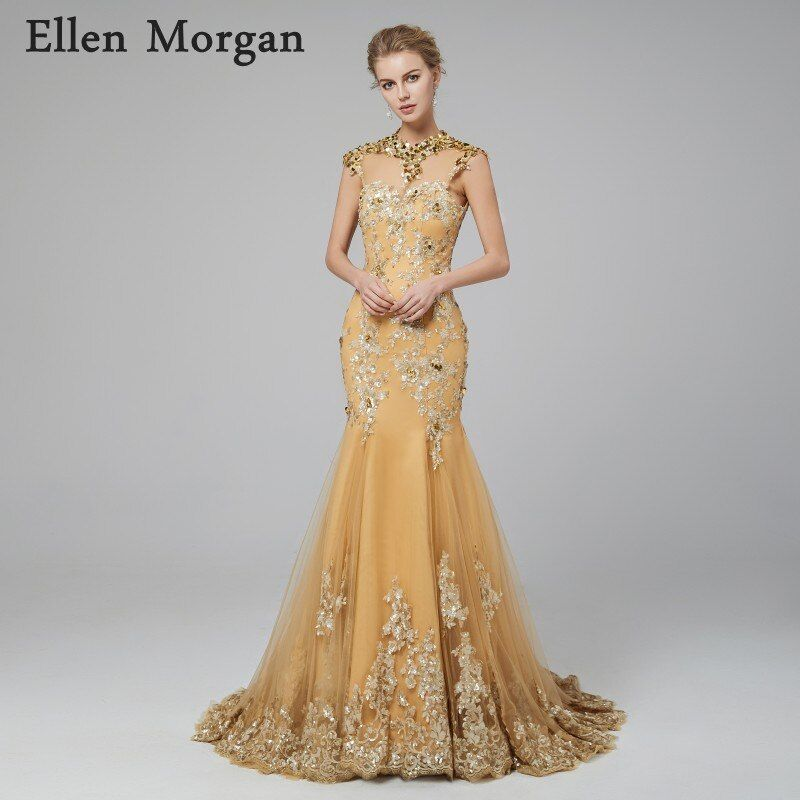 Gold High Neck Backless Evening Dresses 2018 Lace Sexy Elegant Sparkling Ruway Fashion Formal Prom Party Gowns for Women Wear