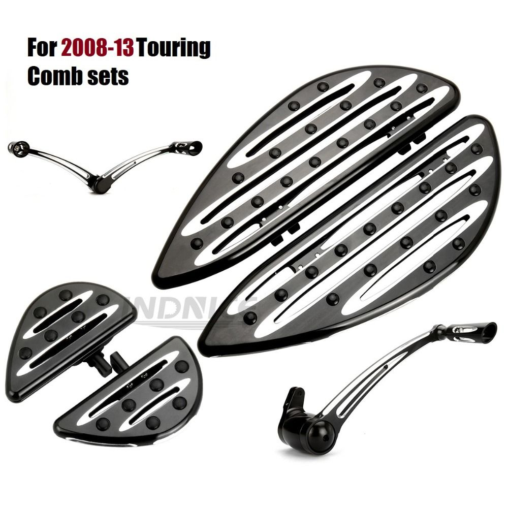 Front Driver Floorboards + rear pegs foot pegs +Shift levers for harley black floorboard Touring street Glide roadking 08-13