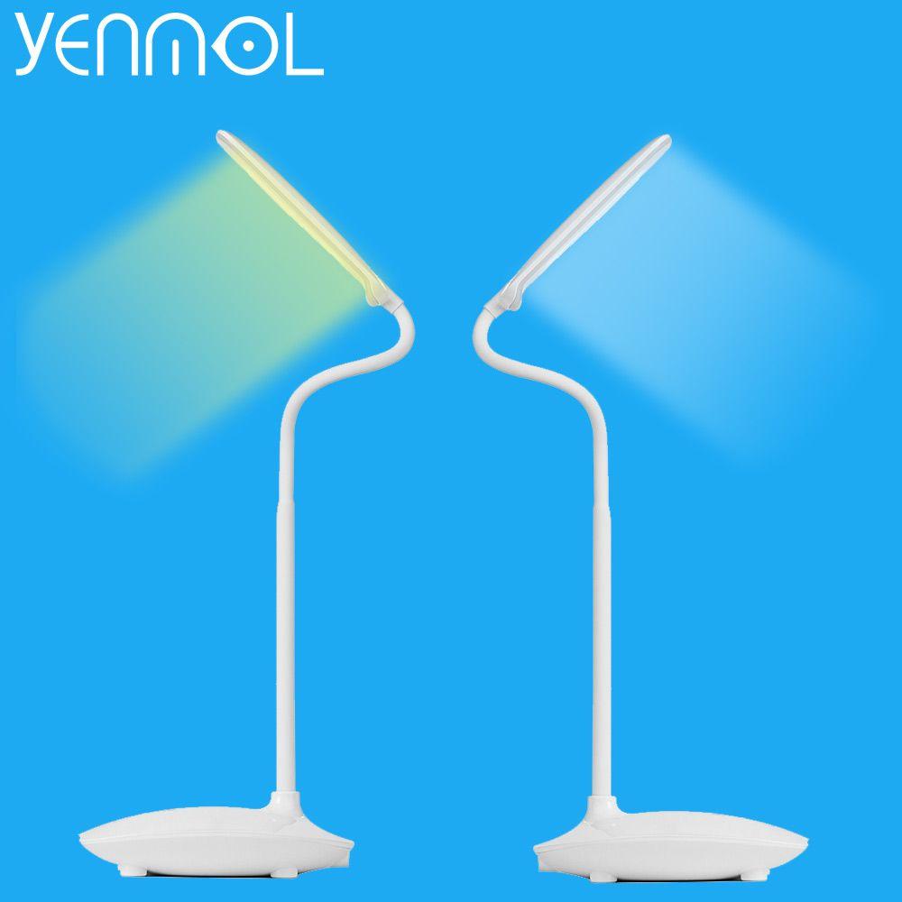 Yenmol LED Настольная лампа затемнения сенсорный выключатель свет книга зарядка через USB чтения платные Настольные ПК LED Настольные лампы Порта...