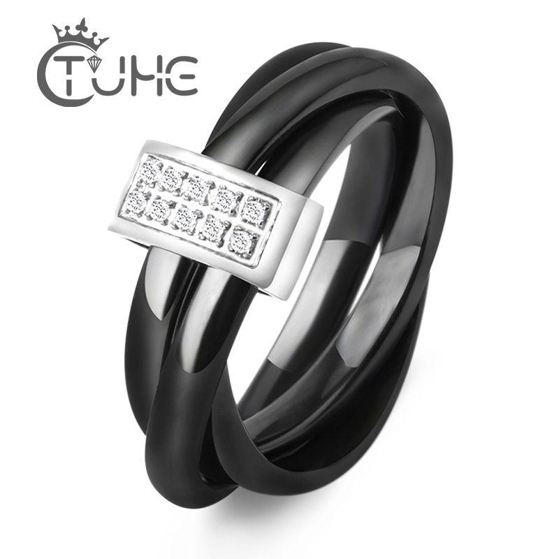 Trois en un anneaux en céramique en acier inoxydable noir blanc trois Alliances bague en céramique avec strass mariage croix anneau pour les femmes