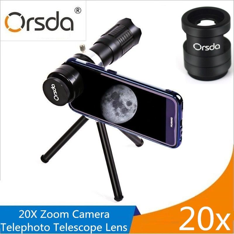 Orsda HD 20x Zoom Mobile Phone Telescope Lens Telephoto External Smartphone Camera Lens For IPhone Sumsung Huawei Xiaomi lenses