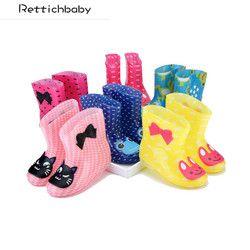 Дети весна осень зима обувь для мальчиков девочек маленьких детей носорог карамельный цвет с лягушка кошка кролик непромокаемые