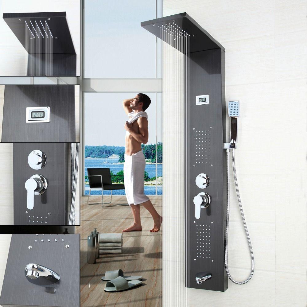 Bad Zeitgenössische Mode Luxus Duschsäule Dusche Panel Handbrause Massage Jets Gebürstetem Nickel Platte Dusche Wasserhahn