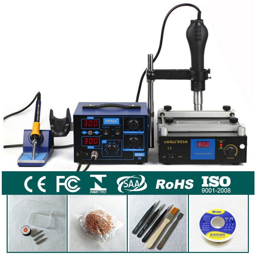 3 Functions in 1 Bga Rework Station 650W SMD Hot Air Gun + 75W Soldering Irons +600W Preheating Station YIHAUA 862D+ & 853A