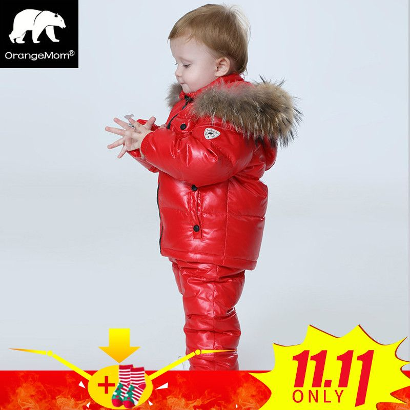 -30 <font><b>degree</b></font> Russia Winter children's clothing sets , girls clothes for new year's Eve boys parka jackets coat down snow wear