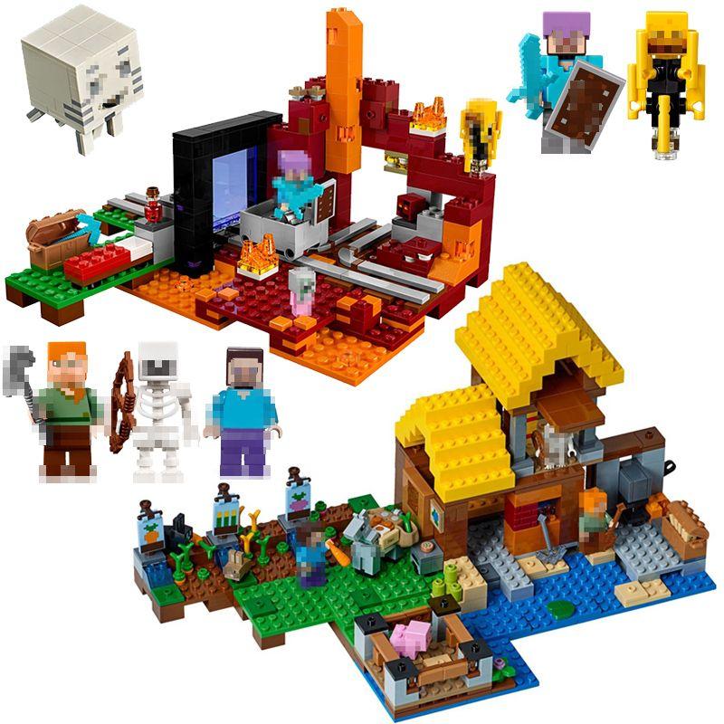 2018 New LEPIN Minecraft The Melon Farm Cottage Nether Portal Zombie Cave Polar Building Blocks Bricks toys compatible legoingly