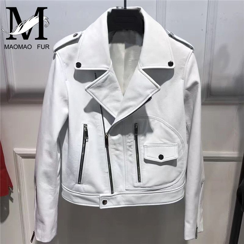 Fashion Genuine Leather Jacket Women Autumn Female Short Sheepskin Leather Coat New Ladies Natural Real Lambskin Leather Jacket