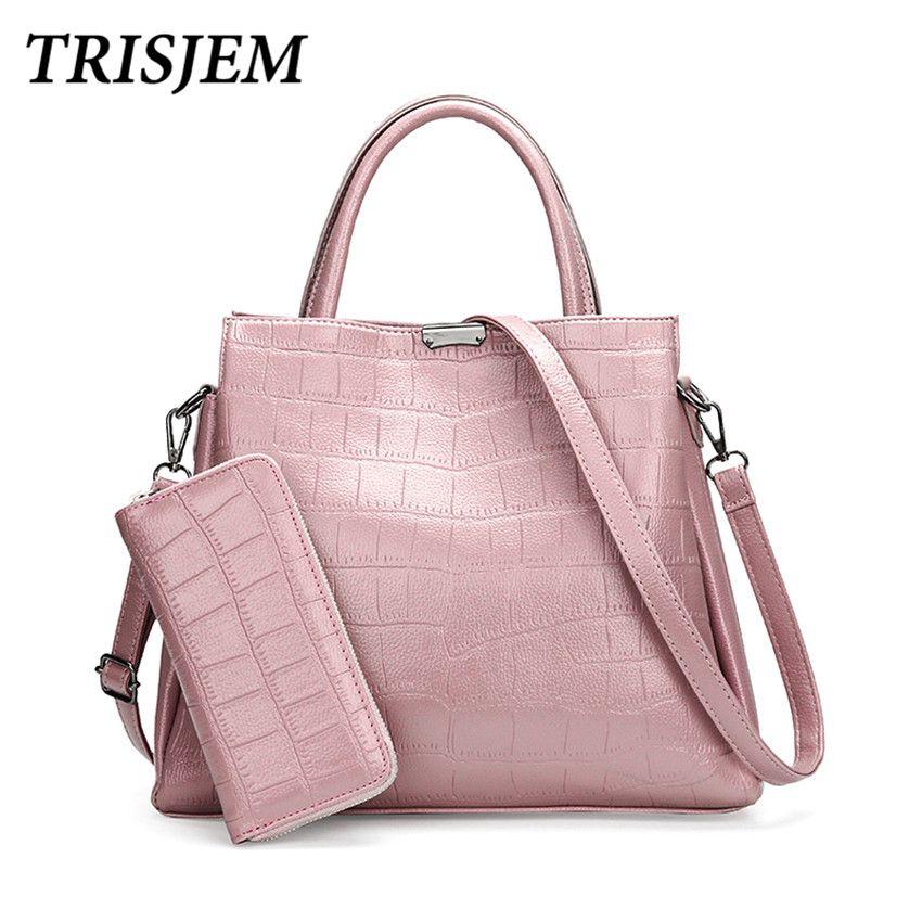 TRISJEM Women Leather Handbags Female Leather Shoulder Bag Women's Tote Bag Handbag Sac a Main Ladies Hand Bag Large Capacity