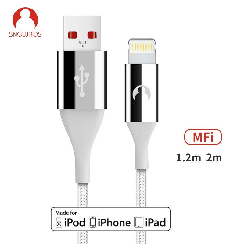Snowkids MFi Kabel 2 teile/los für iPhone X8765 XR XsMax Daten Sync Ladegerät für Blitz zu USB Kompatibel Bis zu iOS12 1,2 m 2m