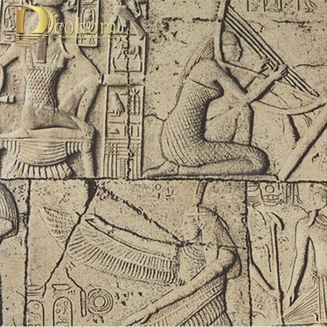 High Quality Embossed wallpaper 3D Egypt ancient wall murals Classical sculpture vintage PVC vinyl wallcovering waterproof R448