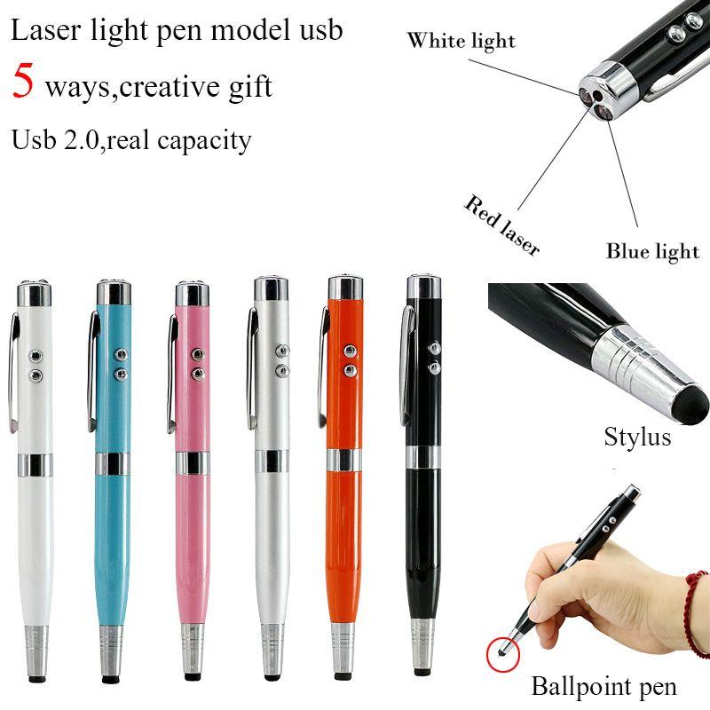 3 couleurs lumière Laser stylo forme USB Flash Drive 8GB 16GB 32GB 64GB Usb disque USB 2.0 stylet lecteur mémoire Stick clé U disque
