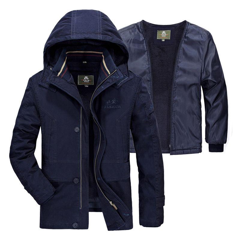 5XL Fleece Liner Abnehmbaren Russland Winter Jacke Männer Marke Winddicht Thermische Verdicken Cashmere männer Parka Schnee Mantel