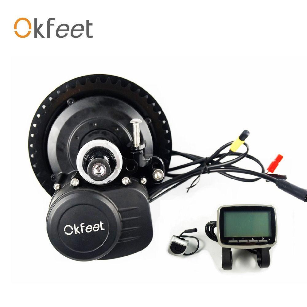 Okfeet TSDZ2 Midmotor 36/48V 250/350/500W Mitte Antrieb Motor Elektrische Fahrrad Kit Drehmoment sensor LCDDisplay