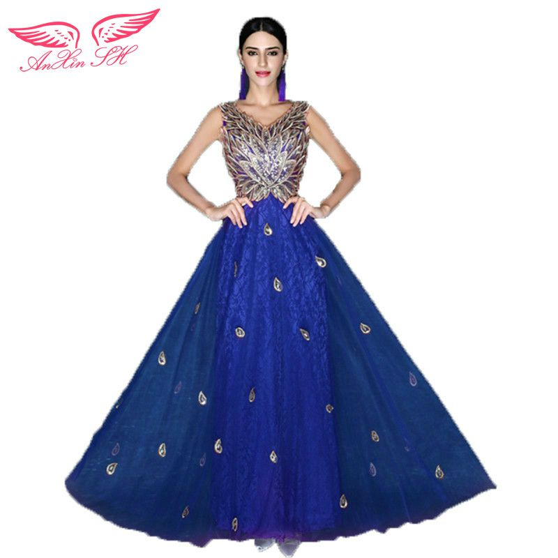 AnXin SH Blue diamond prom dress bride lace dinner will perform long flowr prom dress 2492 S