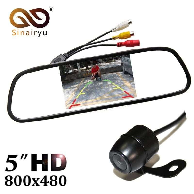 Sinairyu 5 Inch Color TFT LCD Auto Car Rear view Parking Car Mirror Monitor + Auto Parking Assistance Backup Rear view Camera