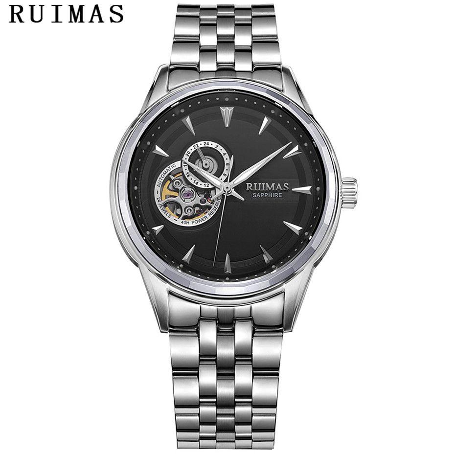 RUIMAS Männer Luxury Business Mechanische Uhr Mit NH39 Mens Classic Analog Armbanduhren Casual edelstahl Uhr Montre Homme
