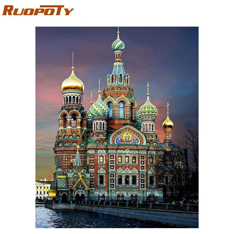 RUOPOTY 60x75cm château cadre peinture à la main par numéros paysage acrylique peinture par numéro mur Art photo peint à la main pour l'art à la maison
