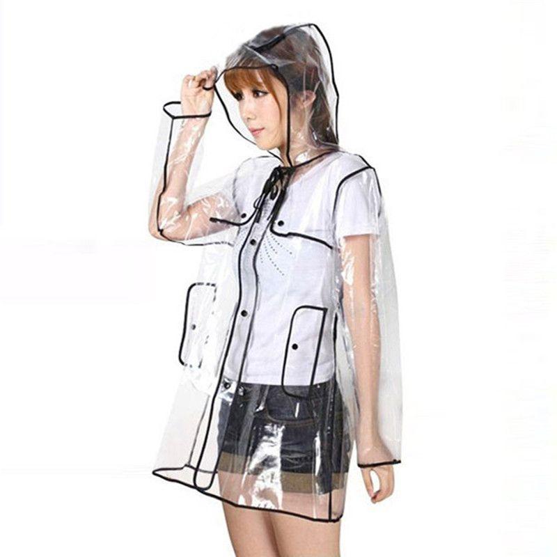 NEW PVC/Vinyl Fashion Women Girls Transparent Clear Rain Coat Mac Camping Long Parka Raincoat