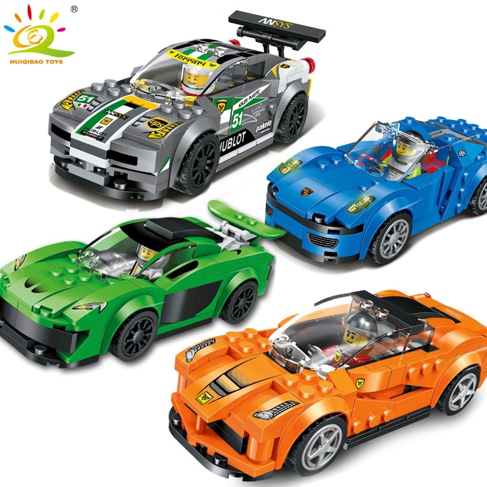4 farbe/set Racing Auto Bausteine mit Action-figuren Kompatibel Legoed Stadt auto Erleuchten Ziegelsteine kinder Spielzeug für junge