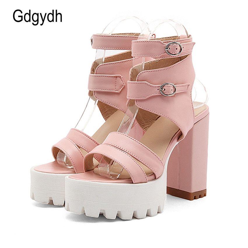 Gdgydh offres spéciales 2018 été gladiateur femmes sandales Sexy talons hauts découpes femmes sandales bout ouvert plate-forme dames chaussures