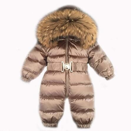 Russia Winter -30 jumpsuit kids winter snowsuit 12M-4T Baby jumpsuit Down Jackets warm overall down coats boys girl Kids clothes