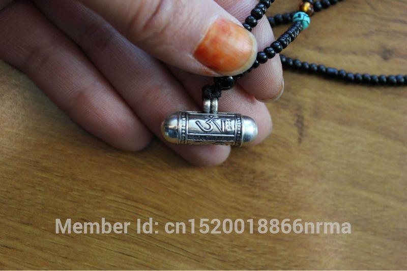 SL000 népalais tibétain 925 argent sterling boîte de prière népal belle amulettes cylindre, OM & bouddha oeil GAU pendentif