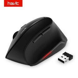 HAVIT Vertikal Mouse Optik Nirkabel 2.4 GHz 1600 DPI Ergonomis USB Mouse untuk PC Laptop Desktop Komputer HV-MS55GT