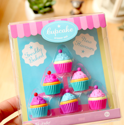 6 unids/set Kawaii pastel postre borrador para niños novedad Cake Set papelería
