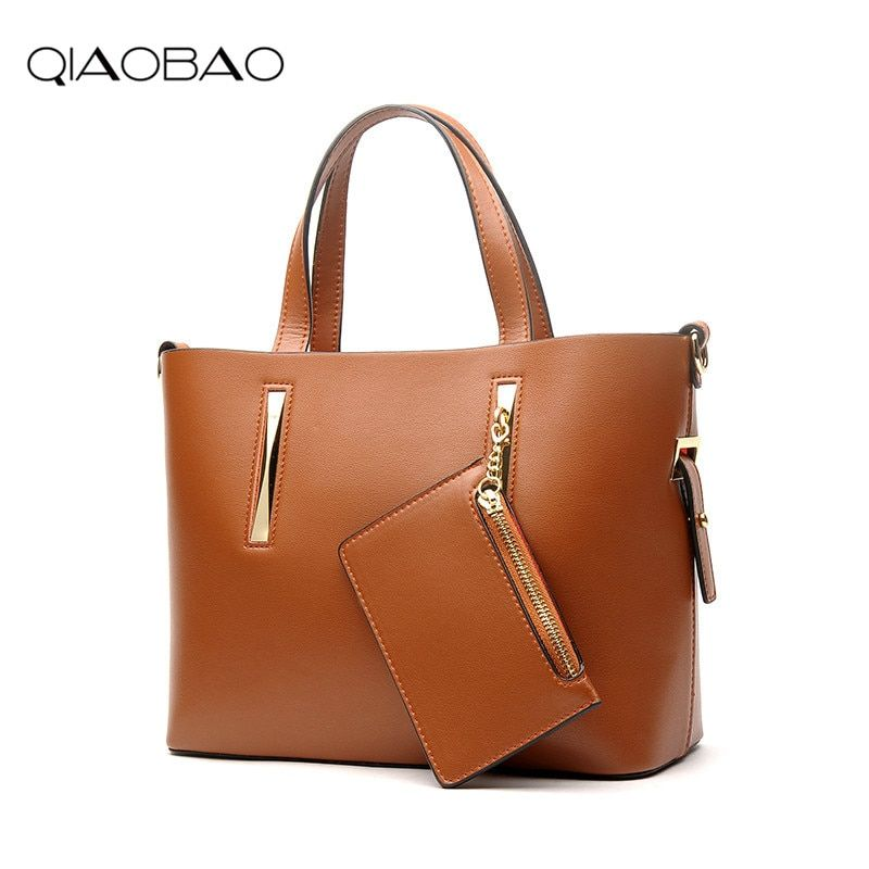 QIAOBAO Neue Brieftasche Geschenk Echtem Leder frauen Handtasche Rindsleder Schulter Luxus Frauen Taschen Designer Umhängetasche Freies Verschiffen