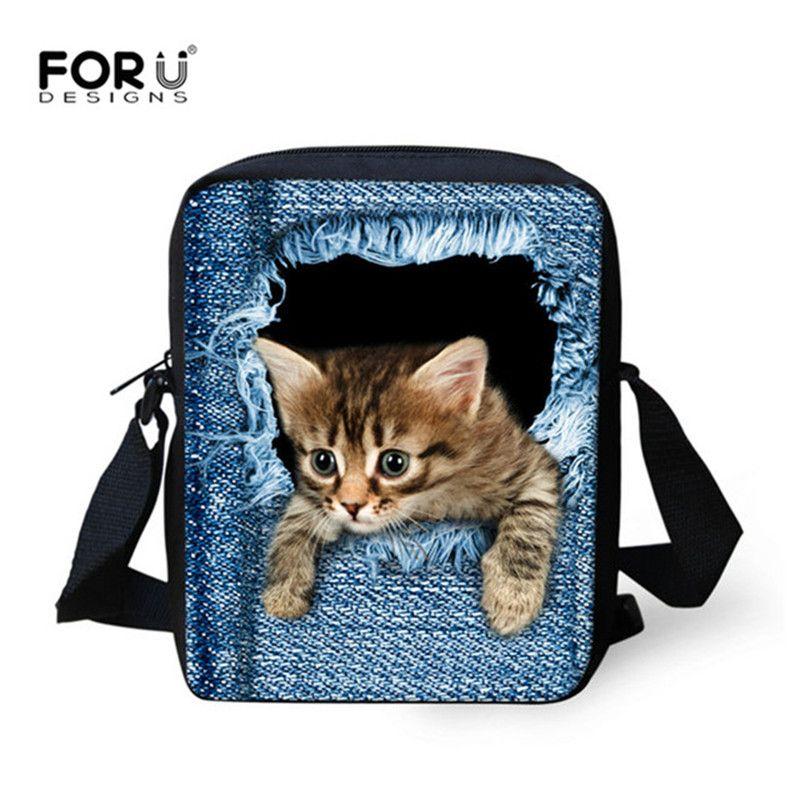 FORUDESIGNS femmes Messenger sacs 3D Denim Animal sac à bandoulière sacs à main mignon chat Messenger sacs enfants sac à bandoulière pour les filles