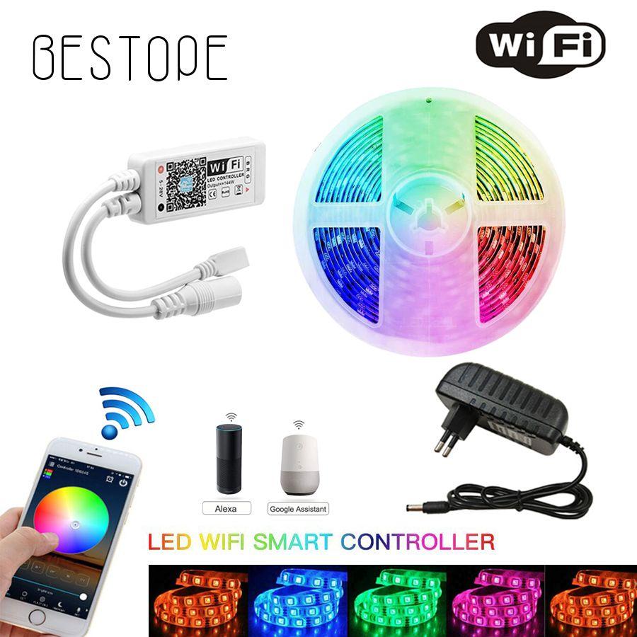 LED bande 4.5M 5M Non LED rgb imperméable bande lumière 5050 300 LED s/M Flexible éclairage ruban ruban contrôleur adaptateur ensemble