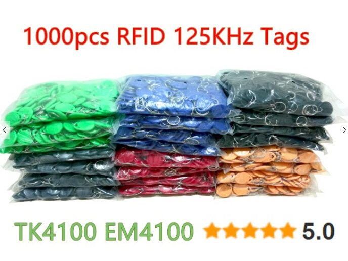 100pcs RFID 125KHz Tag 8 Color TK4100 EM4100 Proximity Keyfobs Tags RFID Card for Access Control Time Attendance