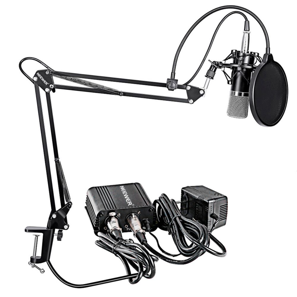 Neewer NW-700 Professional Condenser Microphone&Scissor Arm Stand+XLR Cable+Mounting Clamp&Pop Filter&48V Phantom Power Supply