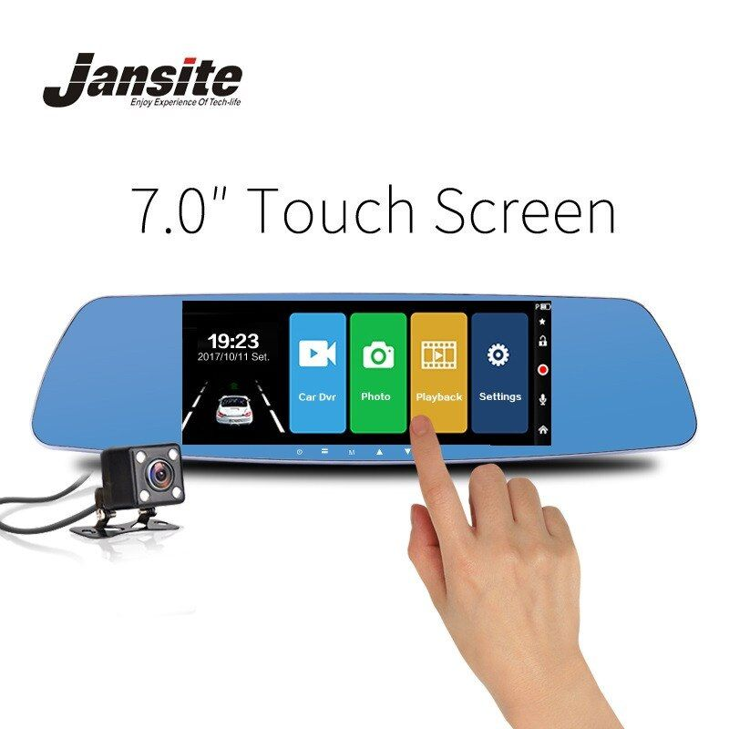 Jansite 7 Inch Touch Screen Car DVR Dual Lens Camera Rearview Mirror Video Recorder Dash Cam Auto Camera Portable Recorder