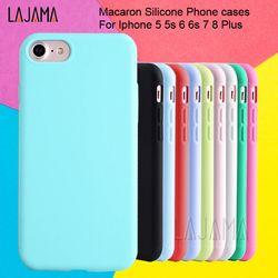 Para el Iphone 6 S para Iphone 6 Macaron Phone Bag casos funda de silicona para Iphone 5 5S se 6 6 S 7 8 más la cubierta del caso para el Iphone 6