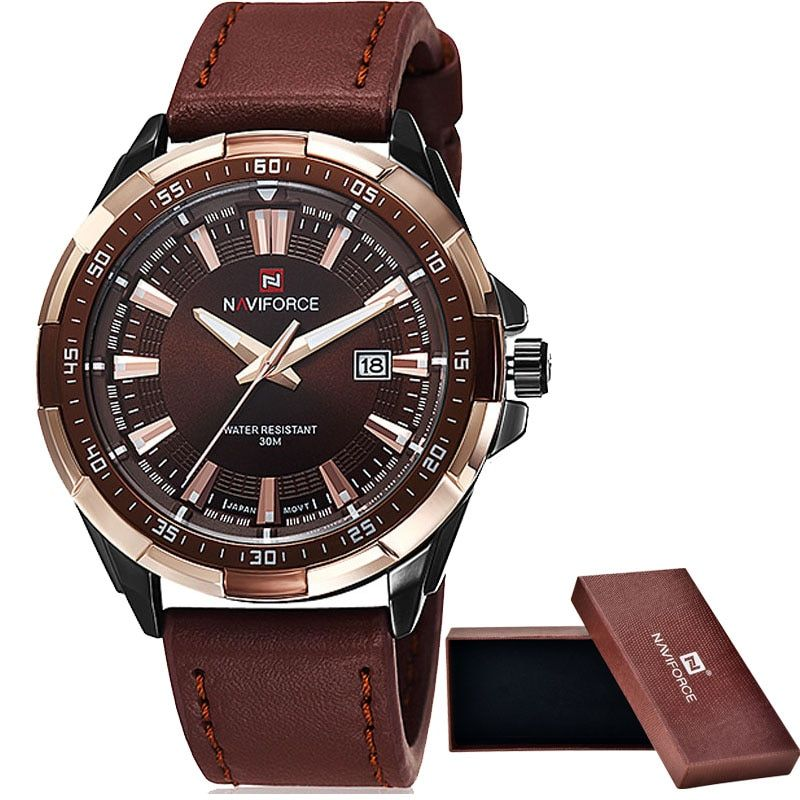 2016 NAVIFORCE Brand Men's Fashion Casual Sport Watches Men <font><b>Waterproof</b></font> Leather Quartz Watch Man military Clock Relogio Masculino