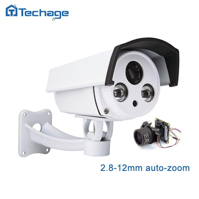 Techage 1080P HD POE IP Camera 2.8mm-12mm Motorized Auto Zoom Lens 2MP Outdoor P2P ONVIF CCTV Security Surveillance Camera