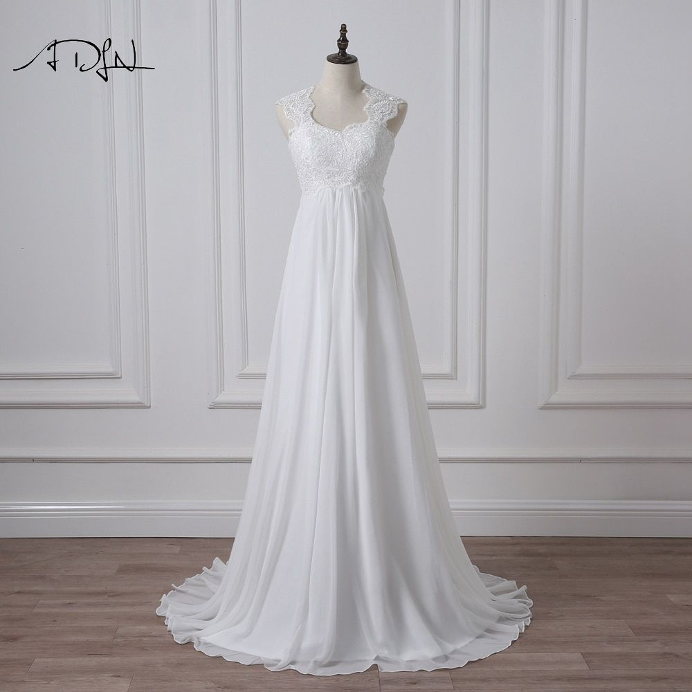 ADLN 2019 Empire Robe de mariage Élégant Blanc/Ivoire En Mousseline de Soie Robe de mariée avec Appliques Robes de Mariée grande taille Robe de Mariée