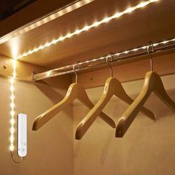 DC 5V PIR Motion Sensor LED Cabinet light 1m 2m 3m Strip tape Under Bed lamp For Closet Wardrobe Stairs Hallway Battery Power