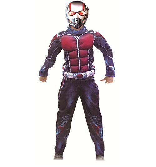 Deluxe Fourmi homme Musculaire Costume Garçons Marvel Nouveau Super-Héros Cosplay Halloween Fantaisie Robe 3 pièces Tenue Pour Les Enfants
