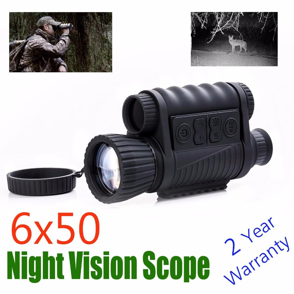 WG6x50 Zoom Video Record Tactical Night Vision Scope 6x50 Infrared Digital Monocular Night Hunting Riflescope NV Scope Free Ship