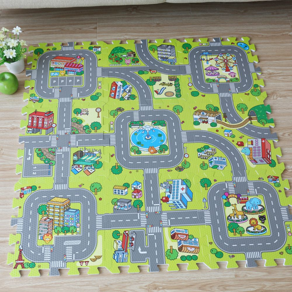 New! 9pcs Baby EVA foam puzzle play floor mat,City Road Education and interlocking tiles and traffic route ground pad (no edge)
