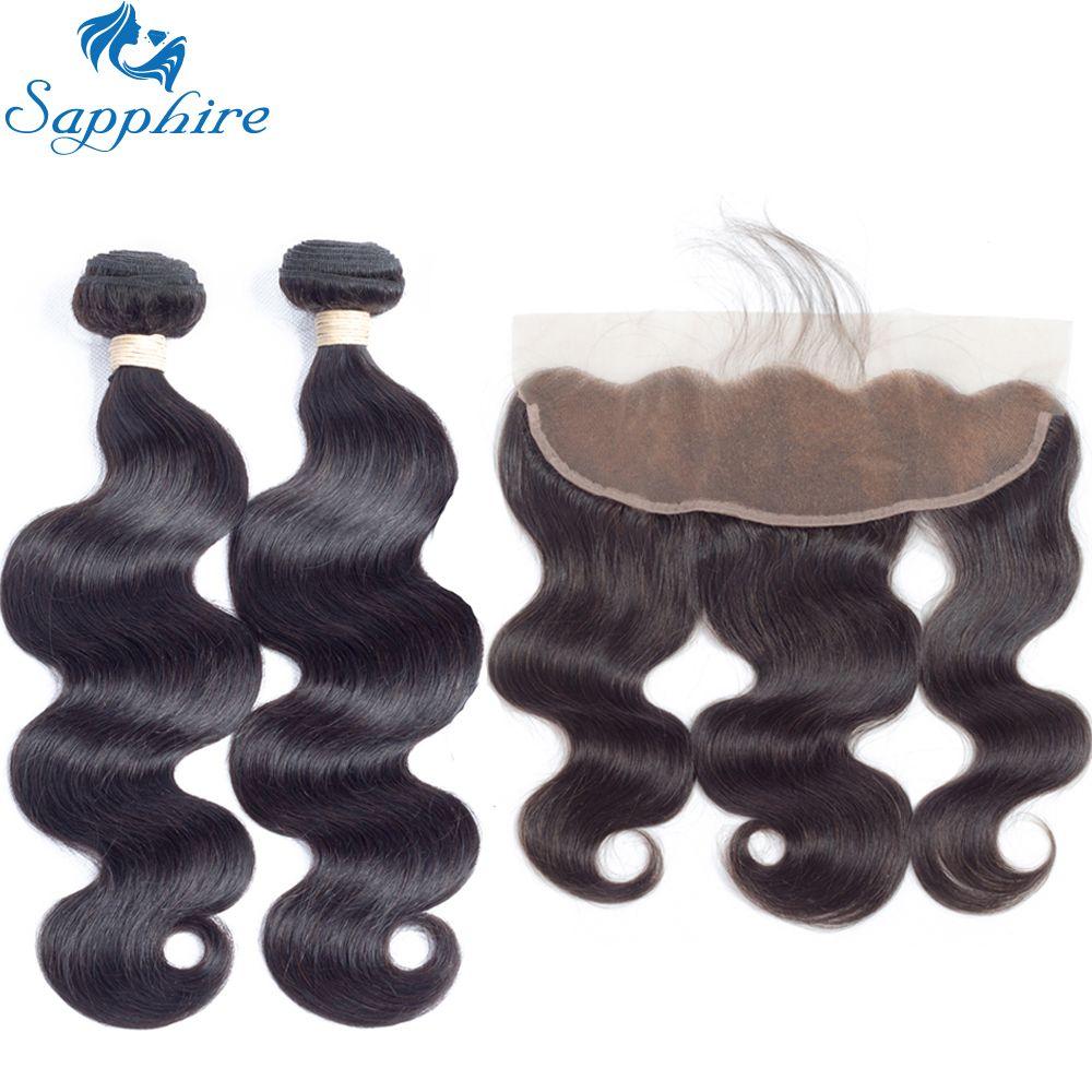 Sapphire Brazilian Body Wave Human Hair Bundles With Lace Frontal Closure For Salon 100% Human Hair 2/3 Bundles With Closure
